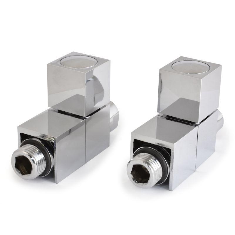 Cube Straight Square Radiator Valves – Chrome