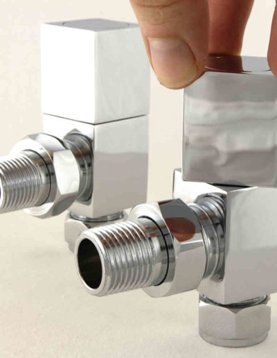 Cubex Angled Square Radiator Valves - Chrome Pair