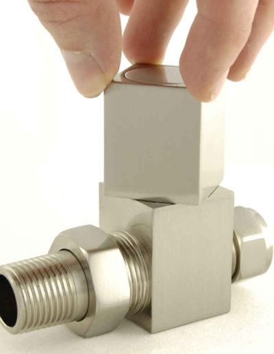 Cubex Square Straight Radiator Valves - Satin Nickel