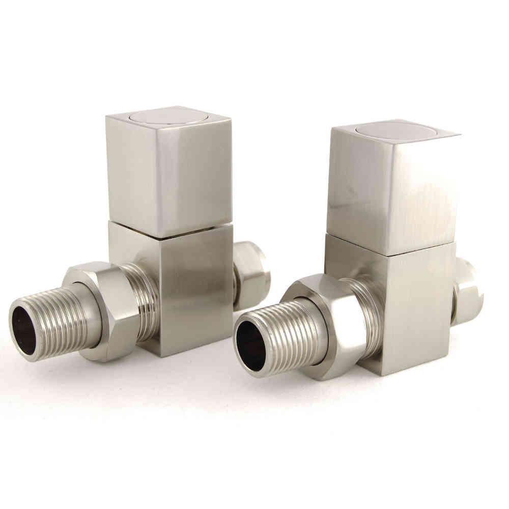 Cubex Square Straight Radiator Valves – Satin Nickel