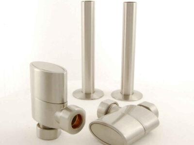 Ellipse - Oval Rad Valve inc sleeves - satin nickel pair