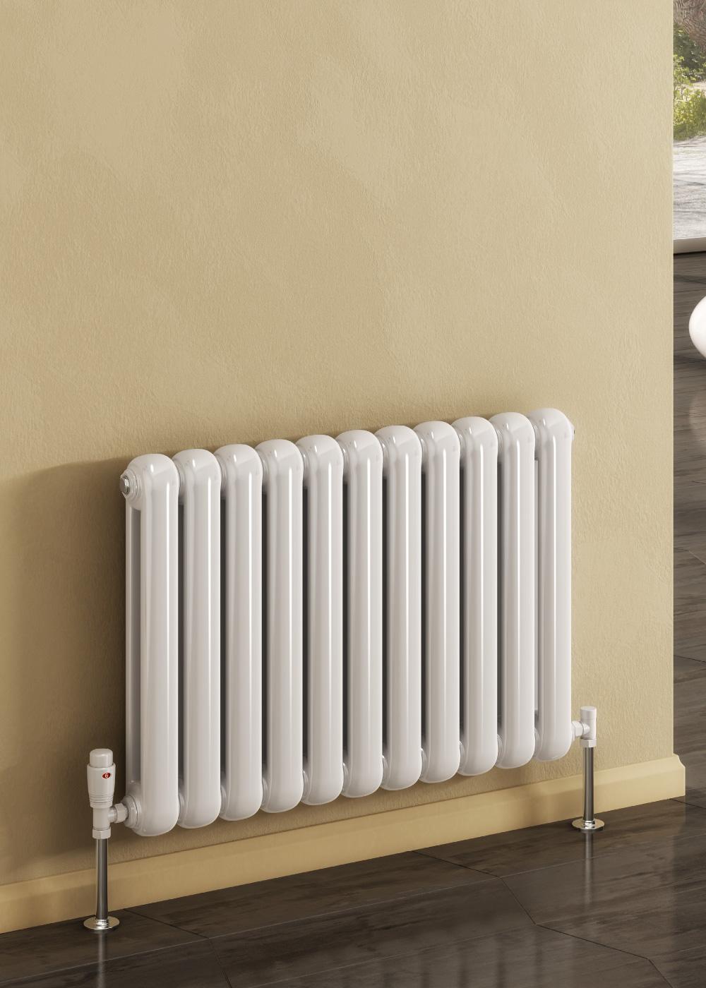 Reina Coneva horizontal radiator on a beige wall