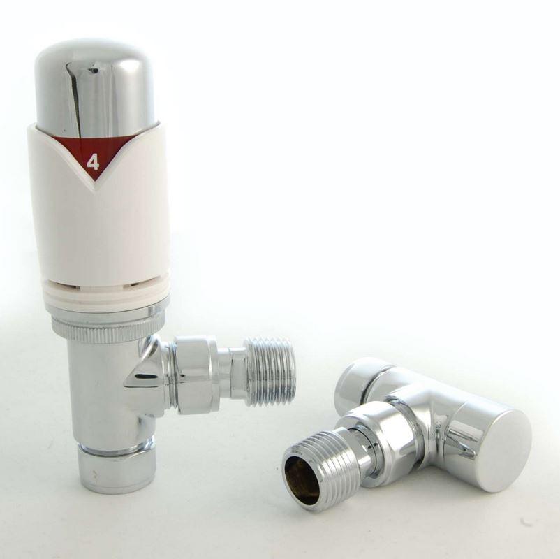 DRS Rosa TRV Angled Valve Set – White